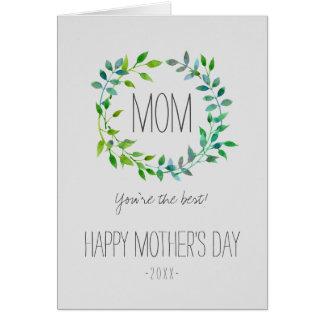 Le jour de mère vert de la guirlande   de feuille cartes de vœux