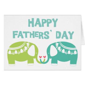 Le jour de pères heureux - éléphants carte de vœux