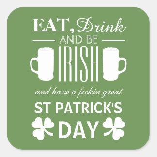 Le jour de St Patrick d'Irlandais de shamrock et Sticker Carré