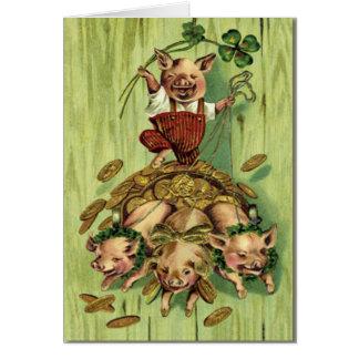 Le jour de St Patrick d'or de porc de trèfle de fe Carte De Vœux