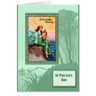 Le jour de St Patrick, harpiste par la mer Cartes