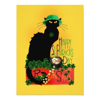 Le jour de St Patrick heureux - Le Chat Noir Carton D'invitation 16,51 Cm X 22,22 Cm