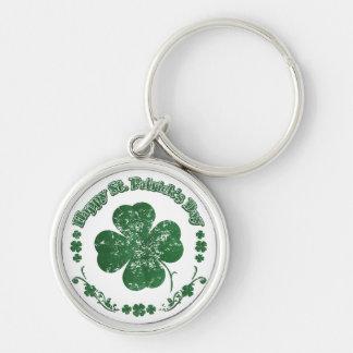 Le jour de St Patrick heureux - style vintage Porte-clé Rond Argenté