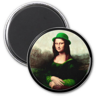 Le jour de St Patrick - Mona Lisa chanceuse Magnet Rond 8 Cm
