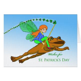 Le jour de St Patrick pour la fille, grenouille Carte De Vœux