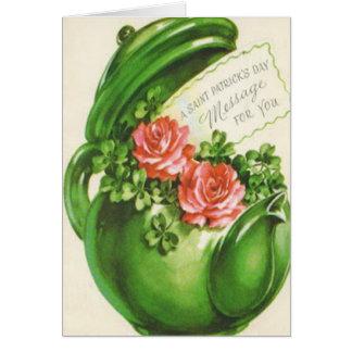 Le jour de St Patrick rose de shamrock de théière  Carte De Vœux