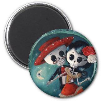 Le jour des amants squelettiques morts magnet rond 8 cm