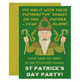 Le jour drôle de Patrick de saint serpente la Carton D'invitation 12,7 Cm X 17,78 Cm