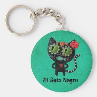 Le jour du chat noir mort porte-clé rond