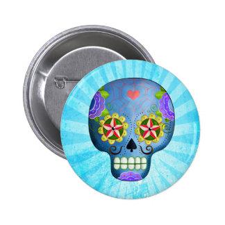 Le jour du crâne bleu mort de sucre badge rond 5 cm