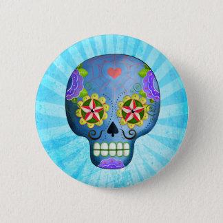 Le jour du crâne bleu mort de sucre badges