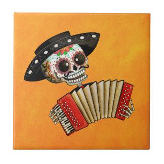 Le jour du mariachi mort d'EL de squelette Petit Carreau Carré
