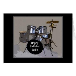 Le joyeux anniversaire d'Eddie bat du tambour de Carte De Vœux