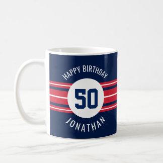 Le joyeux anniversaire folâtre des rayures nom et mug