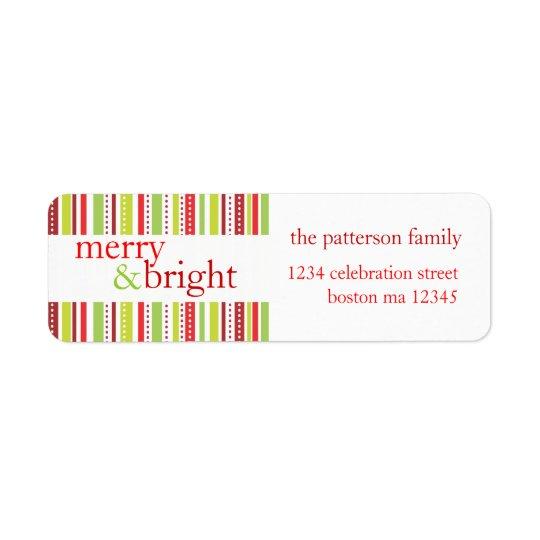 Le Joyeux et lumineux Noël barre l'étiquette de Étiquettes D'adresse Retour
