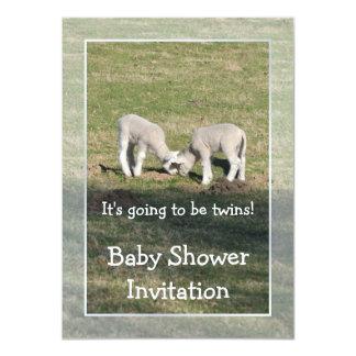 Le jumeau agnelle le baby shower carton d'invitation  11,43 cm x 15,87 cm