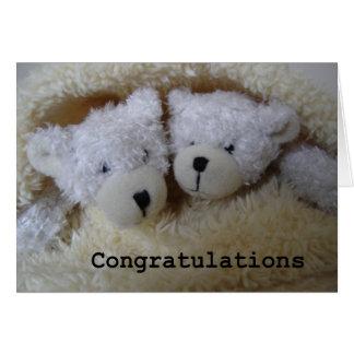 le jumeau soutient des félicitations carte de vœux
