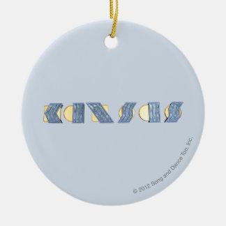 Le KANSAS (bleu et or) Ornement Rond En Céramique