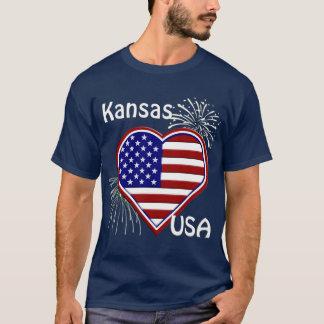 Le Kansas T-shirt de marine de drapeau de coeur de