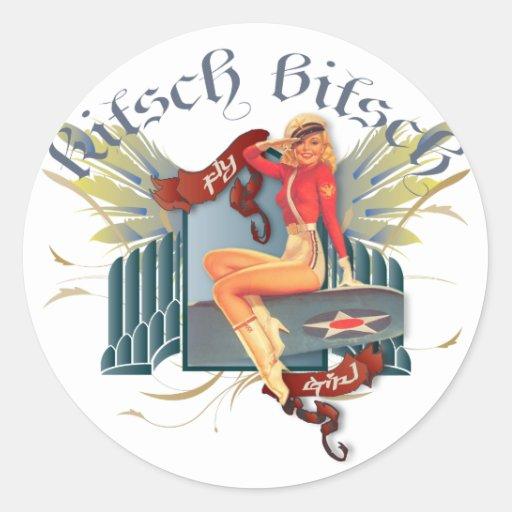 Le kitsch Bitsch : Pin- de tatouage de fille de Autocollants Ronds