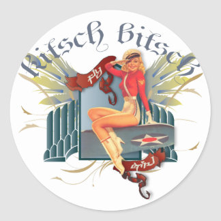 Le kitsch Bitsch : Pin- de tatouage de fille de Sticker Rond