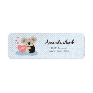 Le koala mignon caresse ID386 Étiquettes D'adresse Retour
