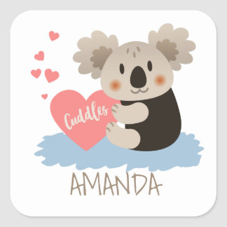 Le koala mignon caresse ID386 Sticker Carré