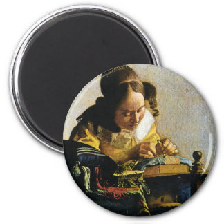 Le Lacemaker de Johannes Vermeer (circa 1670) Magnet Rond 8 Cm