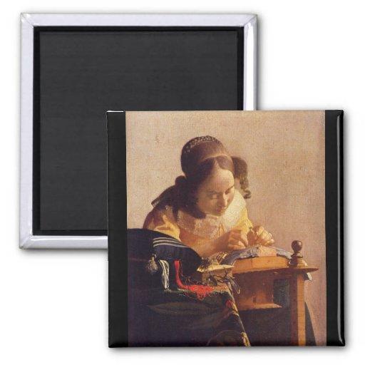 Le Lacemaker par Johannes Vermeer Magnets Pour Réfrigérateur