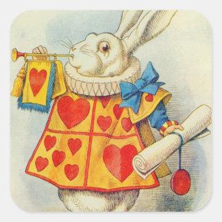 Le lapin blanc autocollant carré