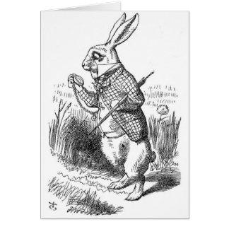 Le lapin blanc avec la montre cartes de vœux