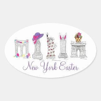 Le lapin de panier de New York City NYC Pâques Sticker Ovale