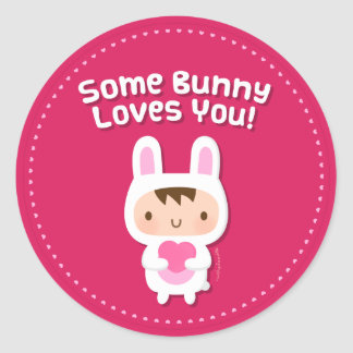 Le lapin mignon vous aime confession d'amour sticker rond