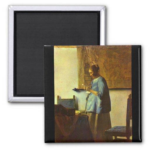 Le lecteur de lettre par Johannes Vermeer Aimant Pour Réfrigérateur