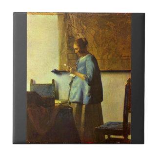 Le lecteur de lettre par Johannes Vermeer Petit Carreau Carré
