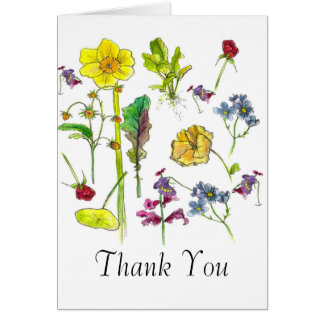 Le légume botanique d'art fleurit le Merci Cartes De Vœux