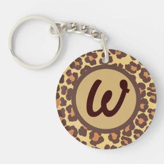 Le léopard repère le porte - clé initial porte-clé rond en acrylique une face
