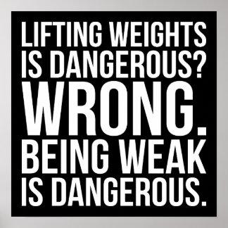 Le levage des poids est dangereux contre être poster