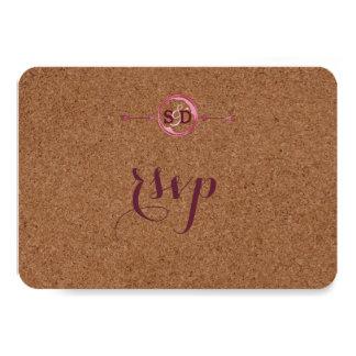 Le liège de vignoble souille le vin rouge épousant carton d'invitation 8,89 cm x 12,70 cm