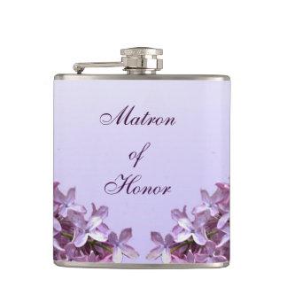 Le lilas floral fleurit dame de honneur de mariage flasques