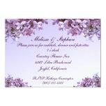 Le lilas floral fleurit la réception de mariage carton d'invitation  12,7 cm x 17,78 cm