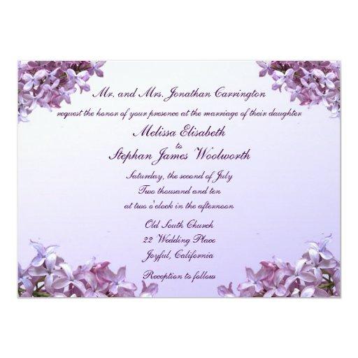 Le lilas floral fleurit le mariage carton d'invitation  13,97 cm x 19,05 cm