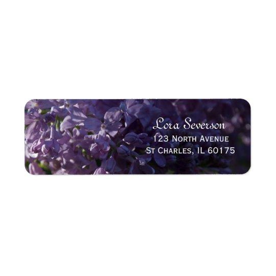 Le lilas pourpre fleurit l'adresse de retour étiquette d'adresse retour
