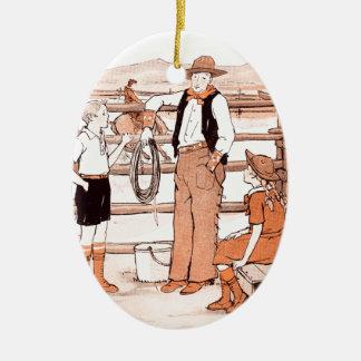 Le livre d'enfant vintage - parlant au cowboy ornement ovale en céramique