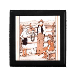 Le livre d'enfant vintage - parlant au cowboy petite boîte à bijoux carrée
