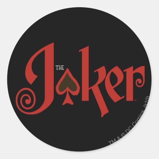Le logo de carte de jeu de joker autocollant rond