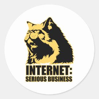 le lolcat l'Internet est des affaires sérieuses Autocollant Rond