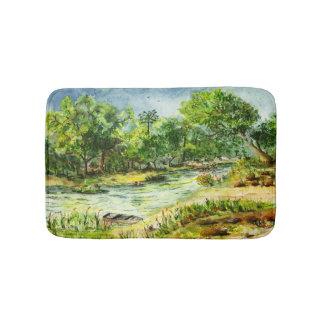 Le long aquarelle de la Floride de rivière Tapis De Bain
