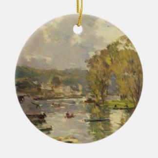 Le long de la Seine chez Meudon, c.1893 (huile sur Ornement Rond En Céramique