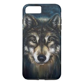 Le loup artistique font face au cas plus de coque iPhone 7 plus